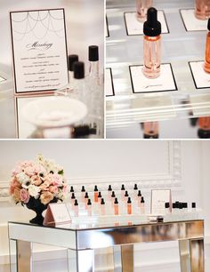 Coco chanel party with Perfume Mixology station! Chanel Party, Chanel Wedding, French Bridal Showers, Chanel Bridal Shower, Mixology Bar, Party Mottos, Party In A Box, Spa Party, Coco Chanel