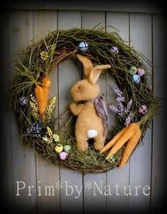 Primitive Easter Bunny Rabbit Twig Wreath with Carrots and Painted Bells  #NaivePrimitive #PrimbyNature