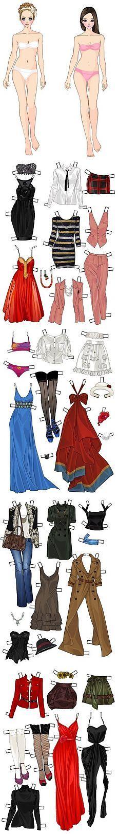 Muñecas de papel con la ropa