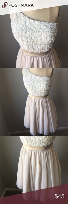 """Gorgeous Cocktail dress! Nude color cocktail dress. One shoulder. Rosettes at the top make this dress so pretty!! 34"""" long. Waist 24"""" flat. Bust 17"""" flat. Please check measurements. This dress is labeled U.K. 10, so it's equivalent to US 6. Please double check. Ask questions if you need. Thanks! It's Beautiful!! Little Misses Dresses One Shoulder"""