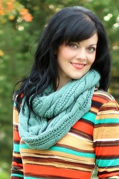 Dark Mint Cable Knit Infinity Scarf