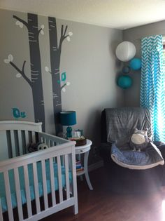 Aqua Teal Chevron Nursery With Cute Owls Https Thevailfamily2017