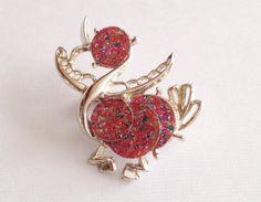 Vintage Pink Lucite Confetti Duck Bird Brooch