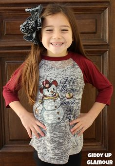 Kids It's The Most Wonderful Time Of The Year Snowman Grey Baseball Tee with Maroon Sleeves www.gugonline.com $22.95