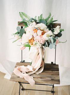 Glamorous Blush, Peach and Emerald Wedding bouquet Fall Wedding Bouquets, Bride Bouquets, Flower Bouquet Wedding, Spring Wedding, Wedding Centerpieces, Floral Wedding, Wedding Colors, Wedding Ideas, Bouquet Flowers