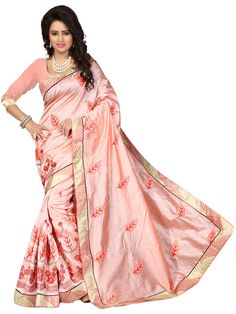 Peach Chanderi Silk Saree With Blouse 70722