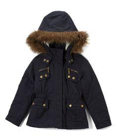 Navy & Gold Hooded Jacket - Girls
