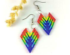 Blue butterfly earrings Wings earrings Beaded earrings by Galiga