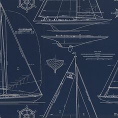 Chesapeake Novelty - White Line On Navy - traditional - wallpaper - Ralph Lauren Home Nautical Wallpaper, Navy Wallpaper, Perfect Wallpaper, Nautical Design, Nautical Home, Nautical Style, Coastal Style, Coastal Decor, Coastal Living