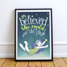 Quote Printable Poster - She believed she could, so she did Quote Print – Typography Print Illustrated Wall Art Poster Print by GnudlePye on Etsy Typography Prints, Quote Prints, Poster Prints, Canvas Prints, Done Quotes, She Believed She Could, Inspirational Posters, Printable Quotes, Girl Room