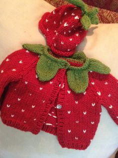 sale pink strawberry scarf for Baby Cardigan Knitting Pattern Free, Knitted Baby Cardigan, Baby Knitting Patterns, Knitted Hats, Crochet Patterns, Crochet For Kids, Crochet Baby, Knit Crochet, Baby Girl Patterns