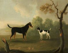 Two Dogs Facing One Another in a Landscape by Daniel Clowes (1774-1829)