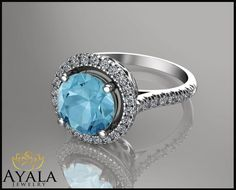 14K White Gold Aquamarine Ring , engagement ring,Gemstone Ring,Promise Rings,Ladys Jewelry,Halo Ring,Pave Ring,anniversary ring,Unique Ring. by AyalaDiamonds on Etsy https://www.etsy.com/listing/221306686/14k-white-gold-aquamarine-ring