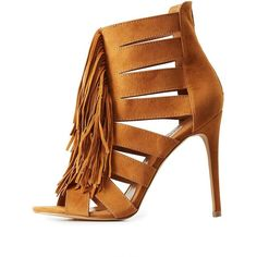 Charlotte Russe Fringed & Caged Dress Sandals ($39) ❤ liked on Polyvore featuring shoes, sandals, cognac, fringe sandals, strap sandals, caged heel sandals, rubber sandals and sexy strappy sandals