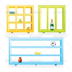 Colored Shelves  #GraphicRiver         Set of Various Colored Shelves for Showing Your Own Items   - vector illustration, only simply linear and radial gradients used   - vector objects separated and grouped   - no blends, gradient mesh used   - vector available CMYK colors and ready for print   - pack include version AI, CDR , EPS, JPG    Keywords: 3d, abstract, bar, blank, bookshelf, cabinet, cube, exhibition, exposition, frame, isolated, museum, office, promotion, rack, shelving…