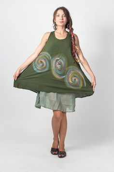 Green Short sleeveless Cotton Women Dress with Gathered Back and Liner (DR174)/ Summer Dress / Hand Painted Tie Dye / Boho / Hippie by NaniFashion on Etsy https://www.etsy.com/listing/190073257/green-short-sleeveless-cotton-women