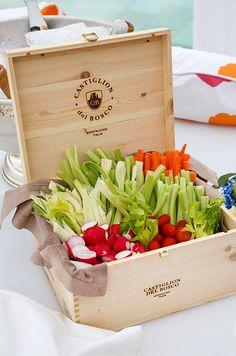 Present colorful, farm-fresh vegetables in wooden Castiglion Del Bosco wine crates.