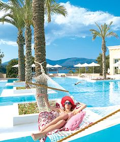 Grecotel's Eva Palace is one of the best 5 star hotels in Corfu offering luxury accommodation. 5 Star Resorts, 5 Star Hotels, Luxury Accommodation, Luxury Hotels, Grecotel Eva Palace, Corfu Island, Family Vacations, Greece, Outdoor Decor