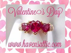 Genuine 10K Yellow Gold Created Ruby 3 Stone Heart w/ Diamond Accent Ring Size 7 #2529