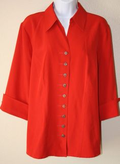 Maggie Barnes Red Womens Vtg Style Button Down Short Sleeves Blouse OX 14W 16W…