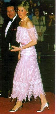 Designed by Zandra Rhodes. Pink chiffon adorned with pearls, lace and beads. Diana wore this dress in 1986 to both the Torvil And Dean Ice Show and to a state banquet in Kyoto Japan. $27,600.00 Recently purchased by Kensington Palace.