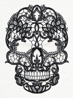 Craft a dark and lovely look with this lace-patterned skull stitched onto your favorite fabric.