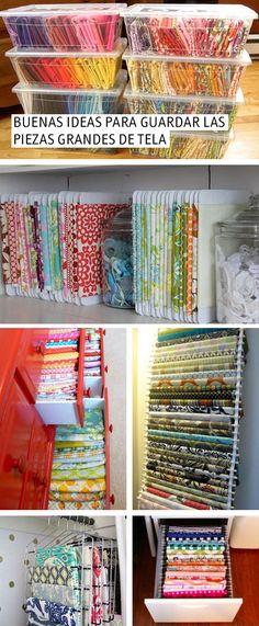 Buenas ideas para organizar las telas grandes