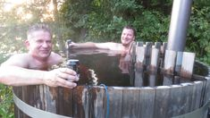 Two bikers, two beers and one hot tub!