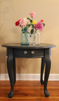 Annie Sloan Painted Side Table in Graphite by CharmedHummingbird, $60.00