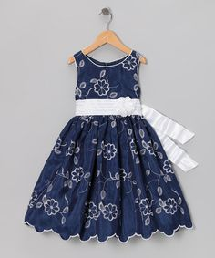 Take a look at this Navy Embroidered Dress - Toddler & Girls by Sweet Heart Rose on #zulily today!