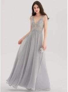 A-Line/Princess V-neck Floor-Length Chiffon Prom Dress With Beading (018138357)