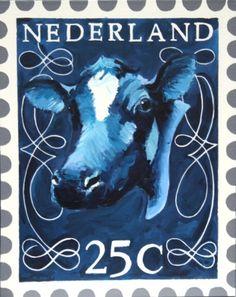 Postzegel I - Painting by Wendy Tjalma  www.uitdedoeken.nl