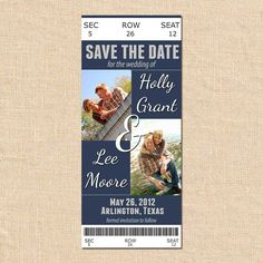 Save the Date Invitation Card  Ticket Style by JoebenDesigns