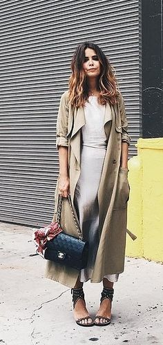 A Silk Slip Dress and Neutral Trench Robe With Trendy Accessories