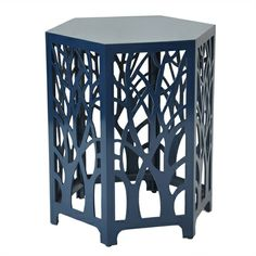This laser cut octagon accent table with its high sheen finish and geometric design offers the perfect contemporary pop of color to any rooms décor.
