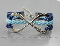 Infinity Bracelet,One Direction forever directioner Bracelet,Dark Blue Wax Cords Sky Blue Pu Leather ID Charm bracelet,Adjustable,Great Gift