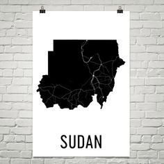 Sudan Map, Sudan Art, Map of Sudan, Sudanese Decor, Sudan Gift, Sudan Print, Sudan Poster, Sudan Wall Art, Sudan Map Print, Sudanese