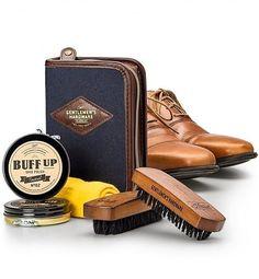 Father's Day Gift Set Luxury Black Shoe Polish Kit Travel Case Cloth Brush Tin #GiftTree