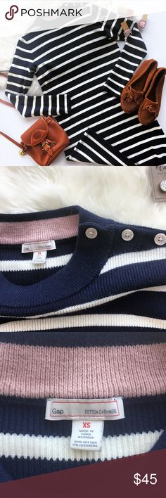 """- GAP - Cotton Cashmere Striped Sweater Dress Chic & cozy this sweater dress is perfect for chilly winter days! Wear with booties, thick tights & and oversized scarf for the perfect cozy vibe. Cute shoulder button detail, navy & white stripe. Excellent pre-loved condition, no flaws. True to size. Approx Measurements:  Bust: 18"""" Length: 33.5"""" 🔸Bundle & Save 20% on 2+ items! 🙅🏼No trades / selling off of Posh. 💗 Offers always welcome! GAP Dresses Long Sleeve"""