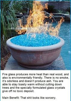 You can use fire glass instead of wood for your backyard fire pit. | 28 Surprising Things That Really Work, According To Pinterest