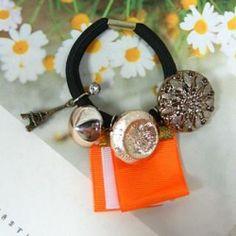 Hair Tie Orange - One Size Eyebrow Jewelry, Hair Ties, Eyebrows, Drop Earrings, Orange, Diamond, Ribbon Hair Ties, Eye Brows, Hair Tie