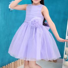 Girl party dress with Bow Flower Lavender color Elsa Princess dress for wedding birthday holiday wear ball Gown to 3-12T