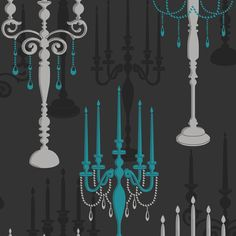 Fine Decor Candelabra Wallpaper Charcoal / Teal / Silver