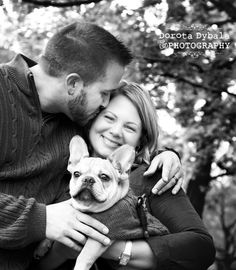 University of Chicago Fall portrait session with young couple and french bulldog puppy