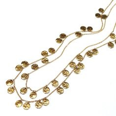 Double Gold Chain Necklace with Gold Discs - www.jamielondon.com - £196.00