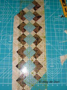 Como parece que os ha gustado la técnica del seminole, me heanimado a hacer un pequeñotutorial por si alguien se anima con este tema. (¡M... Tutorial Patchwork, Patchwork Designs, Quilting Designs, Strip Quilts, Panel Quilts, Patch Quilt, Quilting Blogs, Quilting Projects, Quilt Block Patterns
