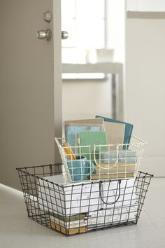 Wired for organization. The wire basket is a chic update to the plastic crate.