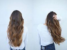 Baili's Balayage #blondme done at Cielo salon in downtown Medford Oregon long brown hair with golden balayage