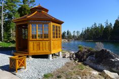 I have a dream… of having a San Cristobal like this by the lake! Hot Tub Gazebo, Gazebo Plans, Cedar Shingles, I Have A Dream, Western Red Cedar, Roof Design, Window Wall, Building Plans, Double Doors