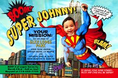 Superman invite from Ianandlola on Etsy.. Love that it looks like a comic book and has my little man on it